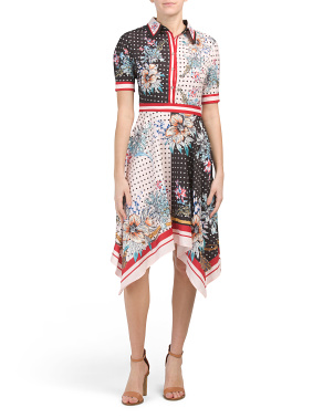 Short Sleeve Mixed Print Sharkbite Dress