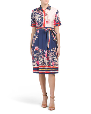 Short Sleeve Printed Floral Shirt Dress