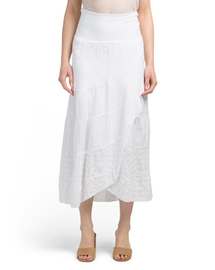 Made In Italy Linen Eyelet Hem Skirt