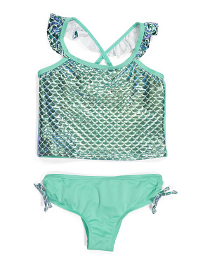 Little Girls Mermaid Shell Tankini Two-piece Swimsuit