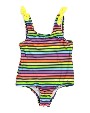 Little Girls Rainbow Stripe One-piece Swimsuit