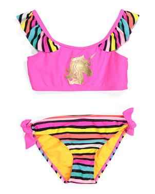 Little Girls Foil Unicorn Two-piece Swimsuit