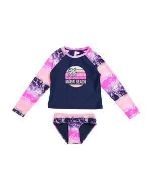 Little Girls Miami Beach Two-piece Rash Guard Swimsuit