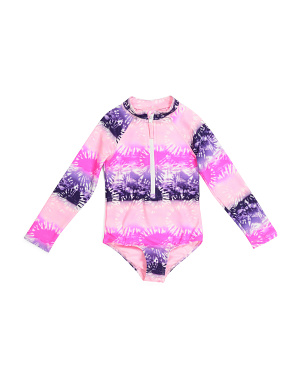 Little Girls Tie Dye One-piece Rash Guard Swimsuit