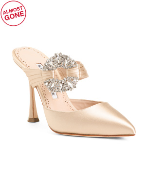Made In Italy Satin Mules With Crystal Detail