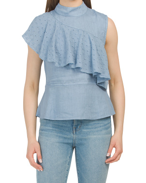 Made In Italy Diagonal Eyelet Linen Top
