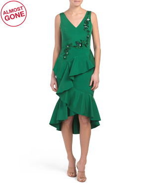 Sleeveless Embroidered Tea Length Cocktail Dress