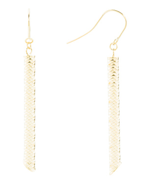 Made In Italy 14k Gold Textured Linear Earrings