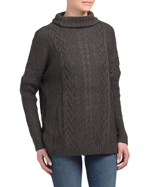 Turtleneck Boxy Cable Rib Stitch Pullover Sweater