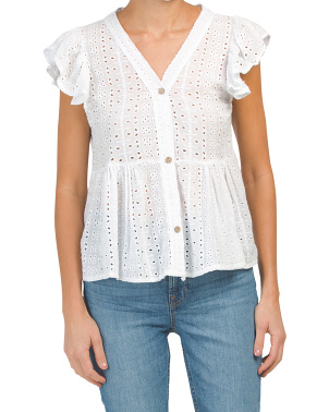 Made In Italy Ruffle Button V-neck Eyelet Top