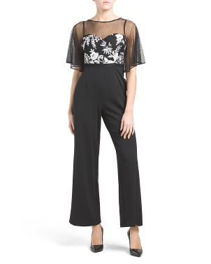 Petite Jumpsuit With Sheer Illusion Sleeves