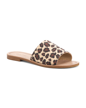 Made In Italy Leopard Slides