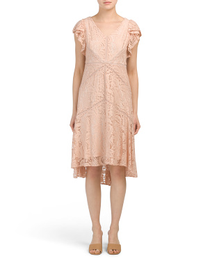 Petite Lace Dress With Flutter Sleeve