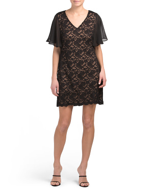 Petite Lace V-neck Sheath Dress