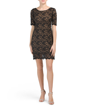 Petite Lace Elbow Sleeve Dress