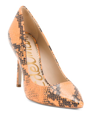 Snakeskin Print Leather Heels