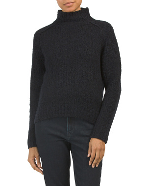 Wool Blend Textured Saddle Turtleneck
