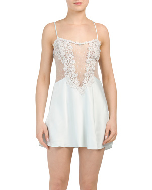 Charmeuse Chemise With Lace