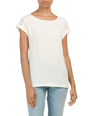 Short Sleeve Top With Lace Detail