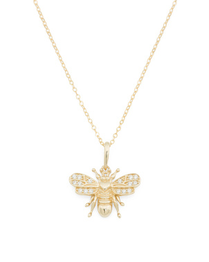 Made In Italy 14k Gold And Cz Bee Necklace
