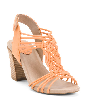 Comfort Strappy Leather Heel Sandals
