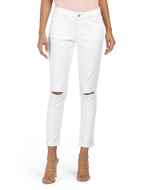 High Rise Skinny Jeans With Knee Slits