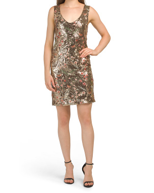 Made In Italy Floral Embroidered Sequin Cocktail Dress