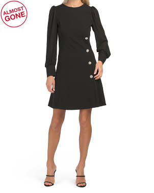 Made In Italy Rhinestone Buttons Chiffon Sleeve Cocktail Dress