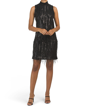 Made In Italy Mock Neck Sequin Fringe Cocktail Dress