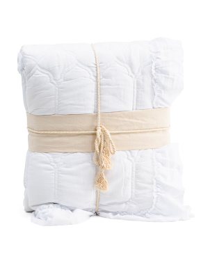 Ultra Soft Frame Stitch Ruffle Quilt Set