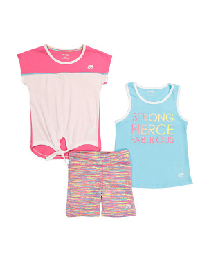 Little Girls 3pc Strong Fierce Fab Short Set