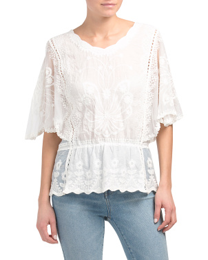 Cold Mineral Wash Embroidered Top