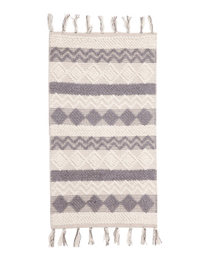 2x3 Wool Blend Handwoven Scatter Rug