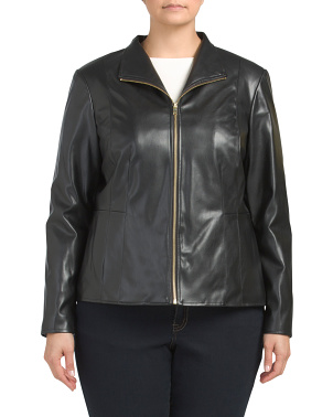 Plus Faux Leather Zip Front Jacket