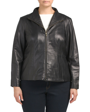 Plus Lamb Leather Zip Front Jacket