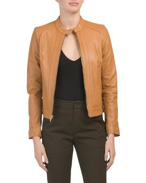 Petite Zip Front Lambskin Leather Jacket