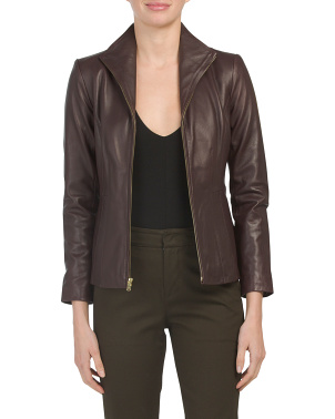 Petite Front Zip Lambskin Leather Jacket