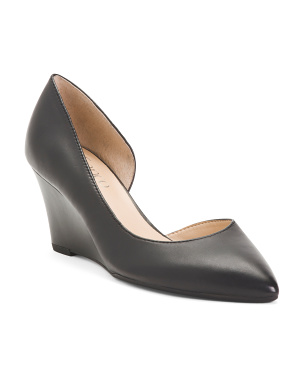 Leather D'orsay Wedge Pumps
