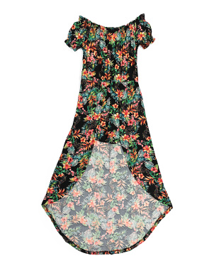 Big Girls Tropical Floral Maxi Walk Thru Romper