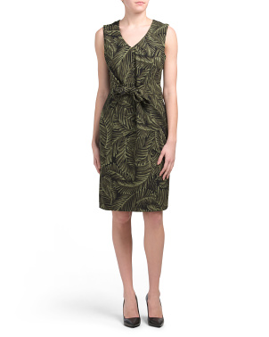 Palm Leaves Stretch Crepe Dress