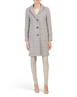 Made In Italy Plaid Wool Blend Maxi Coat