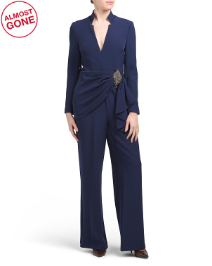 Notch Collar Long Sleeve Jumpsuit