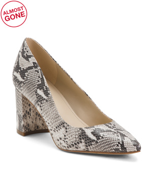 Pointy Toe Leather Snakeskin Heels