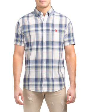 Short Sleeve Madras Plaid Woven Shirt