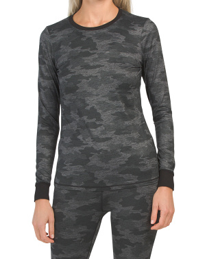 Camo Printed Baselayer Crew Neck Top