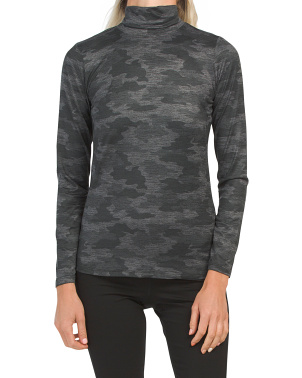 Camo Printed Baselayer Turtleneck Top
