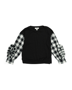 Big Girls Checkered Sleeve Top