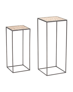 Set Of 2 Metal Plant Stands