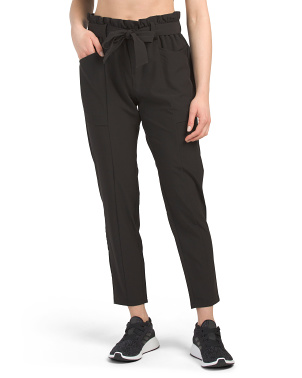Stretch Woven Belted Waist Pants
