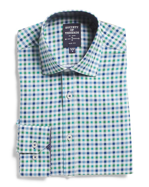 4 Way Stretch Slim Fit Check Dress Shirt